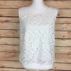 ASOS White Lace Blouse Sleeveless Cropped Size 12